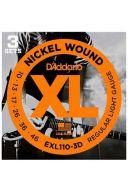 D'Addario Electric Guitar Exl110-3D 3 Sets Nickel Wound Regular Light 10-46 additional images 1 1