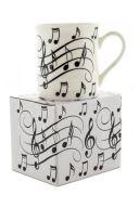 Little Snoring Music Notes Mug - Black On White additional images 1 2