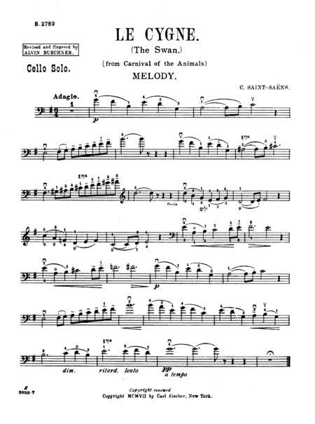 The Swan: Cello & Piano Treble & Bass Clef Part (Fischer)