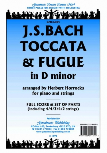 Orch/bach/toccata and Fugue In D Minor/orchestra/scandpts