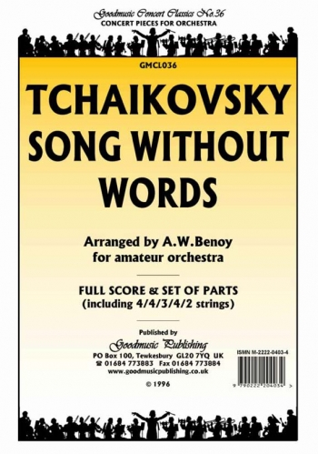 Orch/tchaikovsky/song Without Words/orchestra/scandpts