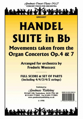 Orch/handel/suite In Bb/orchestra/scandpts