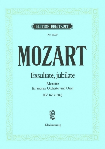 Exsultate, Jubilate: Kv165 (158A): Vocal Score (Breitkopf)