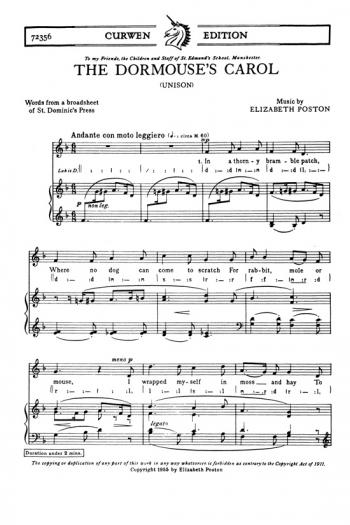 Dormouses Carol The: Vocal: Solo Song (Curwen)