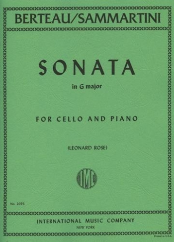 Sonata G Major Cello & Piano(formally Sammartini)  (International)