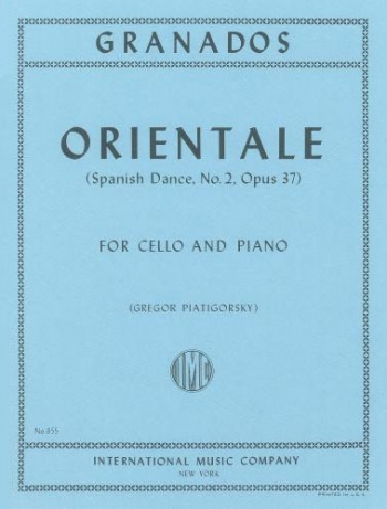Orientale Spanish Dance: Op37 No 2: Cello & Piano  (International)