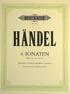 4 Sonatas HWV 360/362/365/369 Recorder Or Violin & Piano (Peters)