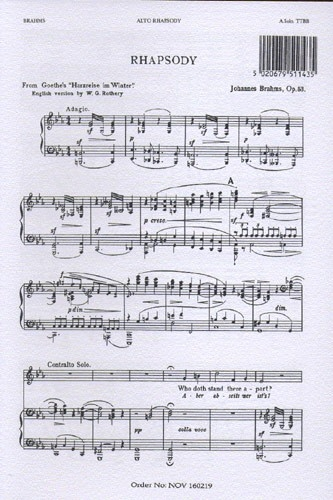 Alto Rhapsody Op53: Vocal TTBB (Novello)