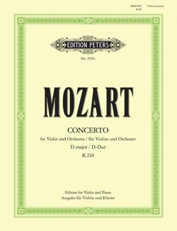 Concerto: D Major: No4: K218: Violin and Piano (Peters)