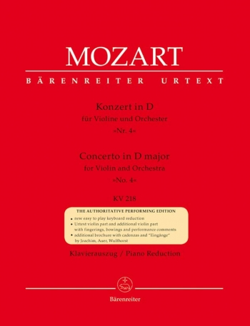 Concerto D Major No.4: Kv218: Violin And Piano (Barenreiter)