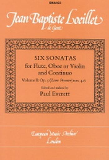 6 Sonatas Op5: Vol 2:Flute Or Violin & Piano Edited By Paul Everett