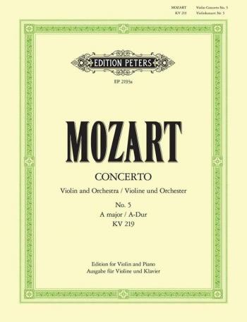 Concerto: A Major: No5: Kv219: Violin and Piano (Peters)