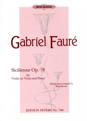Sicilienne: Op78: Violin Or Viola  and Piano (Peters)