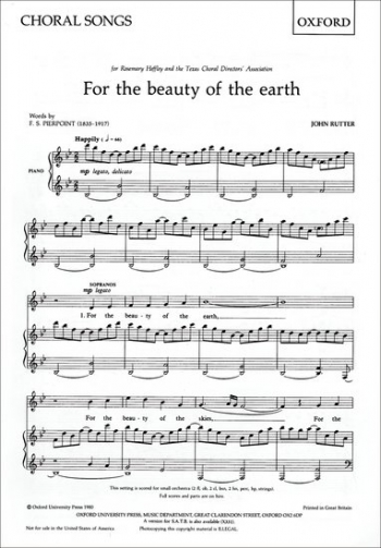For The Beauty Of The Earth Vocal  SA Vocal (OUP)
