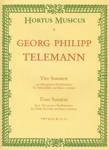 Sonatas 4: Flute Or Treble Recorder and Piano (Hortus Musicus)