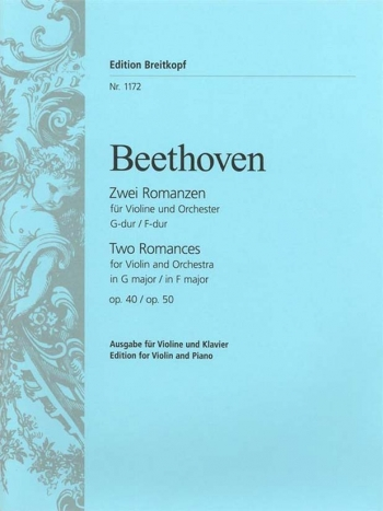 2 Romances: G Major and F Major: Op 40 and Op50: Violin & Piano (Breitkopf)