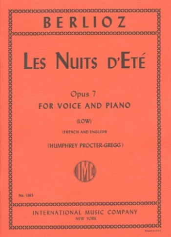 Les Nuits Dete: Op7: Low Voice and Pian: French and English (Procter-Gregg)
