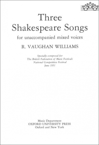 Three Shakespeare Songs: Vocal S(S)ATB Unaccompanied
