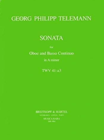 Sonata In A Minor TWV41a3: Oboe & Piano (Breitkopf)