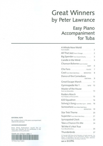 Great Winners: Eb Tuba Piano Accompaniment(Lawrance)