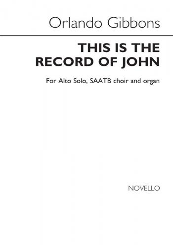 This Is The Record Of John (Alto Verse) SAATB (Novello)