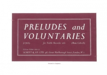 Preludes And Voluntaries: Treble Recorder Solo