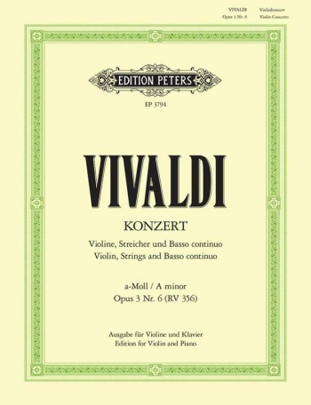 Violin Concerto A Minor Op.3/6: RV356 Violin & Piano Book & Cd (Peters)