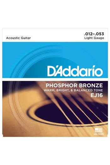 D'Addario Acoustic Guitar Ej16 Phosphor Bronze Light 12-53
