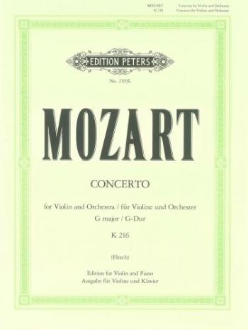 Concerto: G Major: No3: K216: Violin and Piano (Peters)