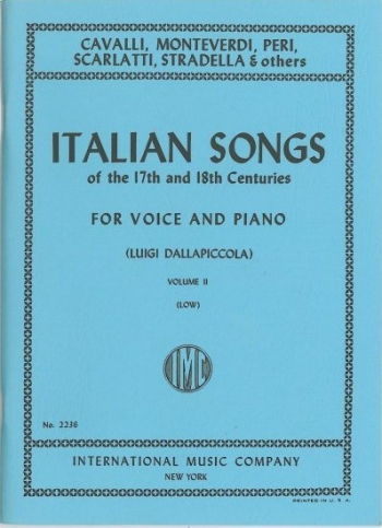 Italian Songs Of The 17th and 18th Cent: 2: Vocal: Low Voice
