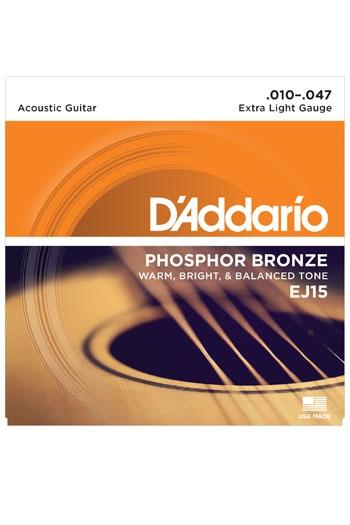 D'Addario Acoustic Guitar Ej15 Phosphor Bronze: Extra Light 10-47
