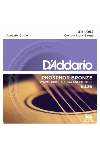 D'Addario Acoustic Guitar Ej26 Phosphor Bronze Custom Light 11-52