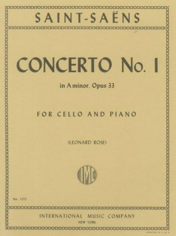 Concerto No.1 A Minor Op.33: Cello & Piano  (International)