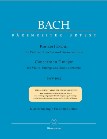Concerto E Major No.2 Bwv1042: Violin & Piano (Barenreiter)