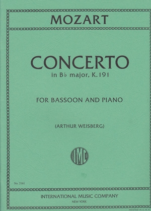 Bassoon Concerto Bb Major: Kv191: Bassoon & Piano (International)