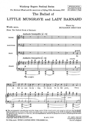 Ballad Of Little Musgrave and Lady Barbard: Vocal Score