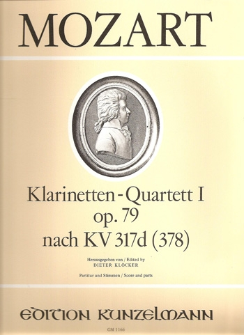 Clarinet Quartet: K317: Bb Major Score & Parts (Kunzelmann)