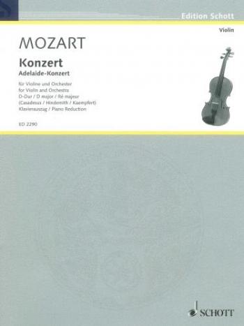 Violin Concerto No.3 D Major K294a: Violin & Piano (Schott)