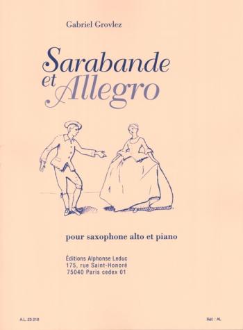 Sarabande Et Allegro: Alto Saxophone & Piano (leduc)