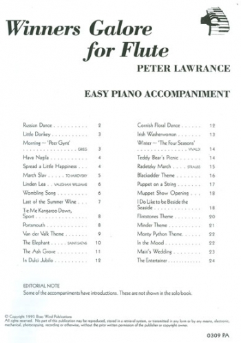 Winners Galore: Flute: Piano Accompaniment (Lawrance)