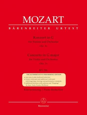 Concerto: G Major: No3: Kv216: Violin and Piano (Barenreiter)