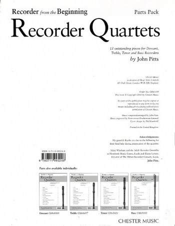 Recorder From The Beginning: Recorder Quartets: SATB: Parts Pack (John Pitts)