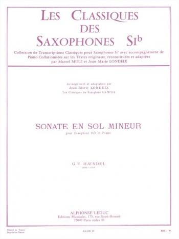 Sonata In G Minor: Tenor Saxophone & Piano (Leduc)