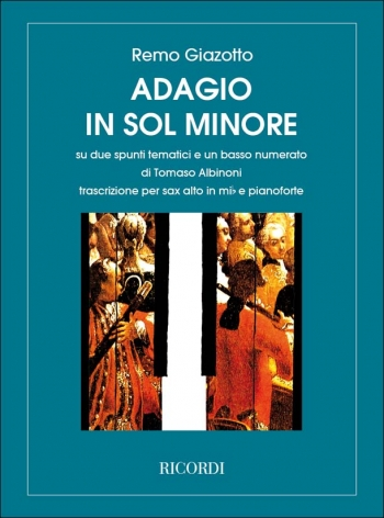 Adagio In G Minor For Alto Saxophone & Piano (Ricordi)