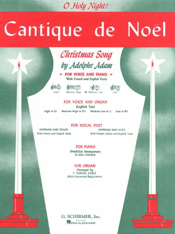 Cantique De Noel: C: Med Low Voice: French and English (Schirmer)