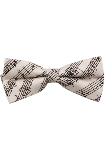 White Pure Silk Bow Tie With Black Manuscript Design