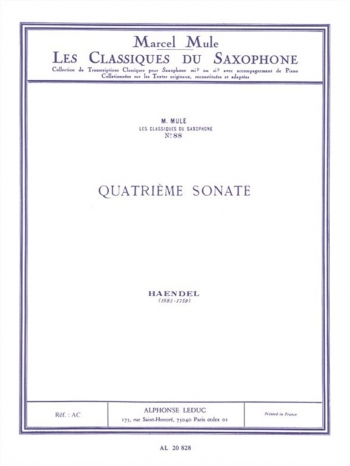 Sonata No 4: Op1/7: Alto Saxophone & Piano (Leduc)