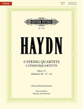 Haydn: 6 String Quartets Op33: String Quartet: Score and Parts