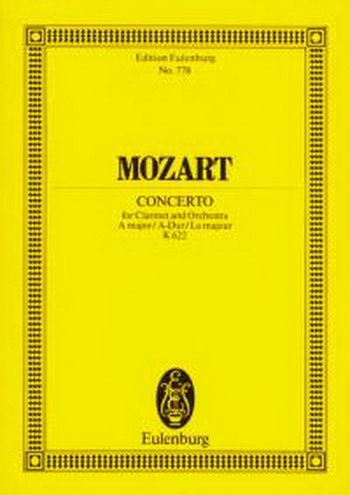 Clarinet Concerto: A Major: Kv622: Miniature Score