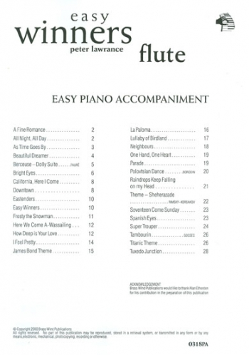 Easy Winners: Flute : Piano Accompaniment (Lawrance)